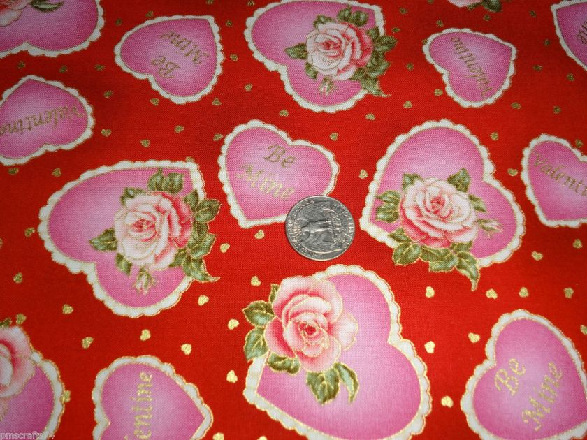 VIP Exclusive St Valentines Day HEART BE MINE ROSES 100% COTTON FABRIC