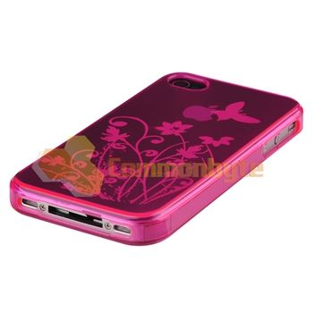 Pink Flower Skin CASE+Car+Travel Charger+PRIVACY FILTER For iPhone 4