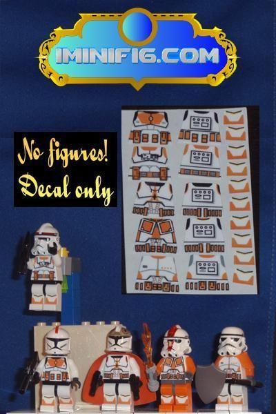 Custom LEGO Star Wars Orange Clone Trooper decals x 5