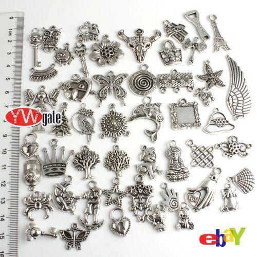 50Pcs Mixed Assorted Tibetan Silver Charms Pendant Free Ship 140430