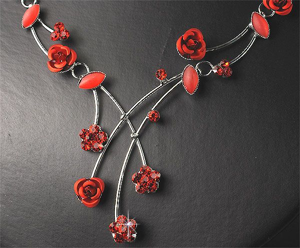 Rose Flower Diamante Crystal Necklace Earrings Set Prom 220R