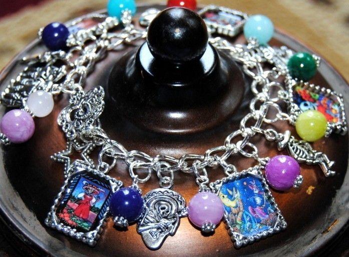 DAY OF THE DEAD Dia de los muertos Mexican Gemstone Charm Bracelet #2