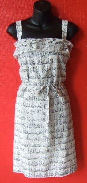 ANN TAYLOR LOFT black/ivory print ruffle dress new 8P 8