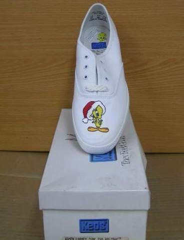 keds shoes women sneakers white looney tunes tweety NIB