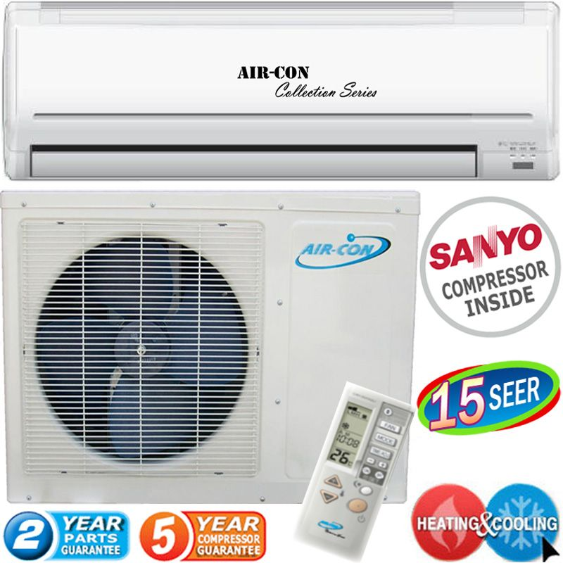 Air Conditioner AC & Heater, Ductless Heat Pump Inverter A/C, 15 SEER